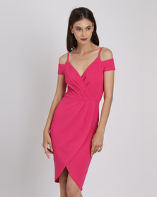 AX Paris Wrap Around Dress Cerise