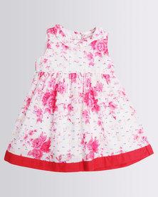 London Hub Fashion Girls Summer Dress Floral Pop Pink