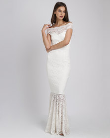City Goddess London Bardot Lace Maxi Wedding Dress White