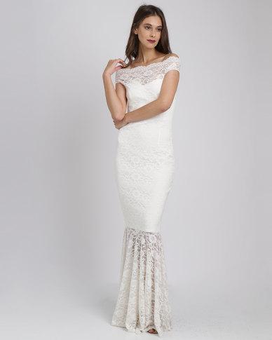 City Goddess London Bardot Lace Maxi Wedding Dress White | Zando