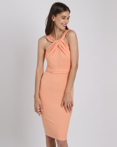 City Goddess London Pleated Neckline Midi Dress Peach
