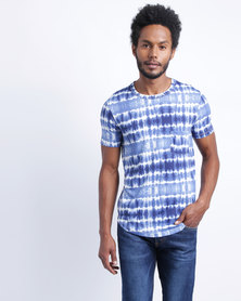 Utopia Full Inked Print T-Shirt Blue