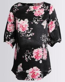 Me-A-Mama Delia Blouse Black/Floral