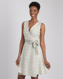 G Couture Functional Stripe Wrap Dress White/Green