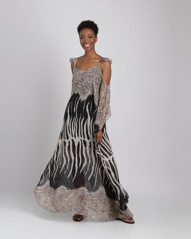 dbc49173b4 G Couture Chiffon Animal Print Long Length Kaftan Multi