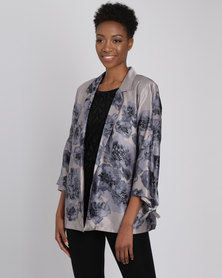 Queenspark Printed Bow Detail Woven Jacket Silver