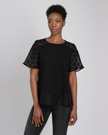 Yarra Trail Spot Panel T-Shirt Black