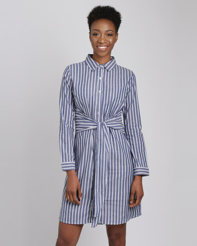 Utopia Stripe Voile Long Shirt With Tie Belt Navy/White