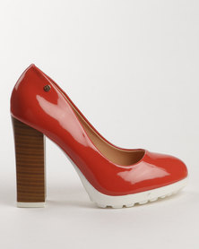 Dolce Vita Roman Block Heel Court Shoes Coral