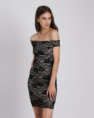 422bcb3cb5 Utopia Bardot Lace Dress Black