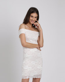 Utopia Bardot Lace Dress Neutrals