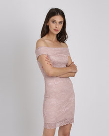Utopia Bardot Lace Dress Pink