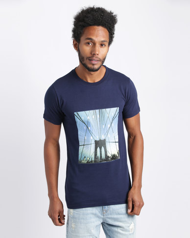Utopia Bridge Print Tee Navy