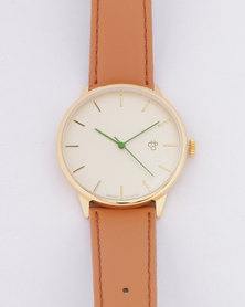 CHPO Nawroz Vegan Leather Watch Gold/Brown