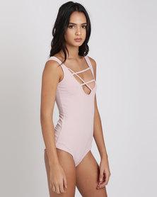 Paige Smith Stringy Low Front Bodysuit Blush