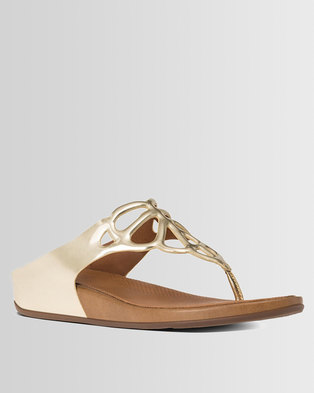 FitFlop Bumble Leather Mirror Sandals Gold