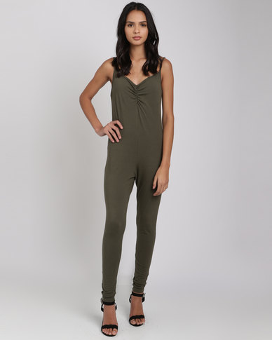 Utopia Strappy Jumpsuit  Olive Green