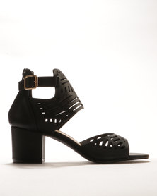 Bata Lazer Cut Block Heels Black