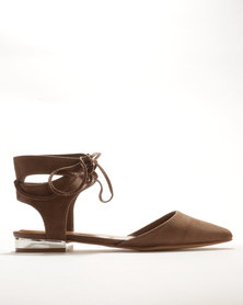 Bata Pointy Lace Up Flats Taupe