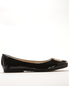 Bata Flat Pumps With Detail Black