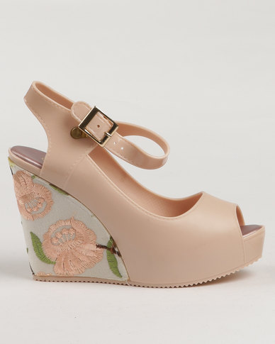 aa4e08404 Urban Zone Printed Peep Toe Wedges Mink