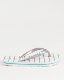 Lizzy Girls Teen Katie Flip Flops Silver/White