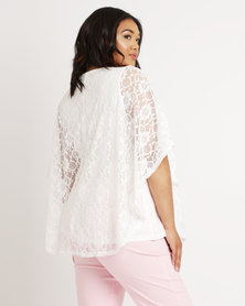 Queenspark Plus Lace Kaftan Knit Top Cream
