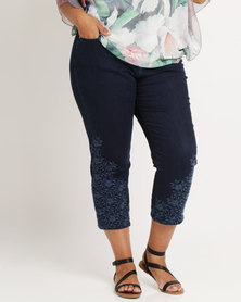 Queenspark Plus Embroidered Denim Capri Indigo