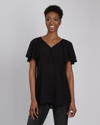 G Couture Buttoned Frilled Sleeve Top Black