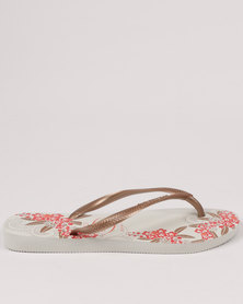 Havaianas Slim Organic Flip Flops White / Rose Gold / Rose Gold