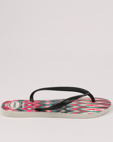 314ff3077b97 Havaianas Slim Tribal Flip Flops White   Black   Pink