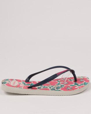 fbd0f43b2 Havaianas Slim Floral Flip Flops White   Black   Pink