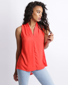Utopia Georgette Henley Blouse Red