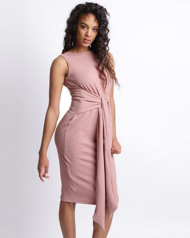 Utopia Tie Front Dress Nude
