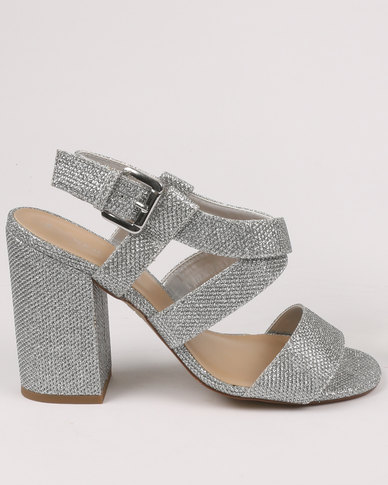 New Look Terry Glitter Strap Block Heel Silver