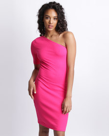 New Look Off the Shoulder Ribbed Bodycon Dress Bright Pink