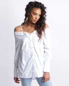 New Look Bardot Neck Dip Hem Shirt White