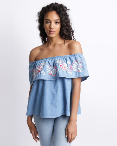 New Look Floral Embroidered Bardot Neck Top Blue