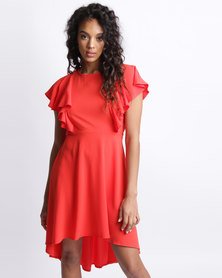 New Look Dip Hem Frill Trim Dress Red