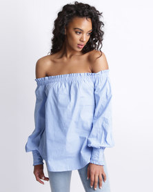 New Look Frill Edge Bardot Top Blue