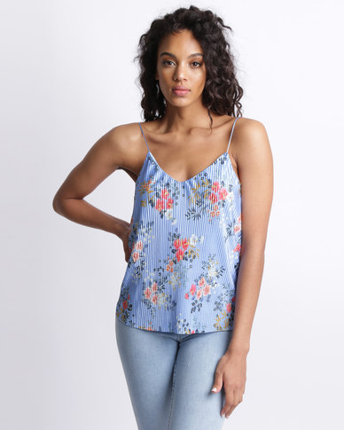New Look Floral Print Pleated Cami Top Blue
