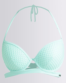Kangol Underwire Push Up Cup Double Strap Detail Turquoise
