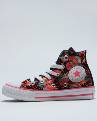 8e5f34dba72e95 Converse Chuck Taylor Neon Floral Hi Top Sneaker Black