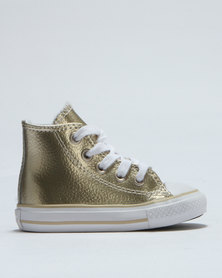 Converse Chuck Taylor Metallic Leather Hi Top Sneaker Gold