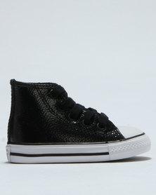 Converse Chuck Taylor Metallic Leather Hi Top Sneaker Black