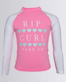 Rip Curl Girls Sun Hearts L/S Rashie Pink