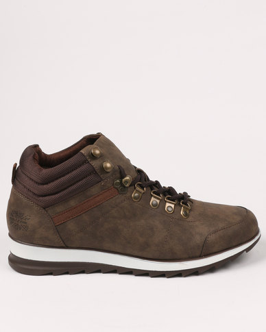 Paul of London Casual Lace Up High Top Sneaker Brown
