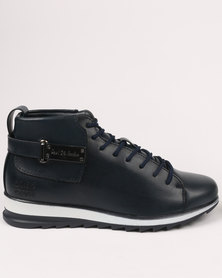 Paul of London Casual Lace Up High Top Sneaker Navy