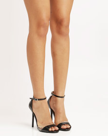 Utopia Wild Diva Patent Heeled Sandals Black