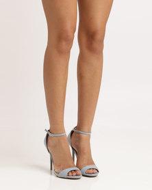 Utopia Wild Diva Microfibre Heeled Sandals Light Blue